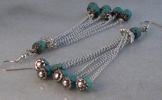 SHOP CLOSING SALE - White Chain Tassel Earrings, Turquoise Beaded, Fringe Jewelry