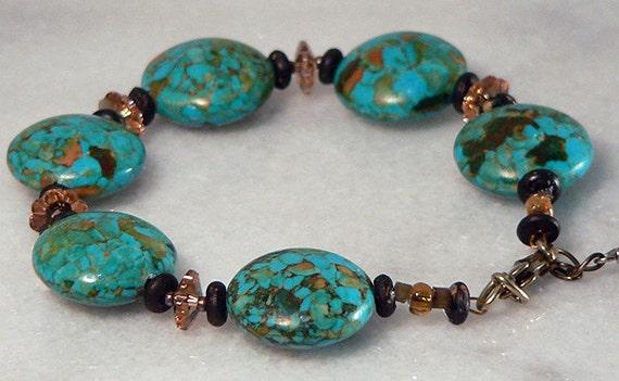 Magnesite Bracelet, Swarovski Crystals, Colorado Brown, Turquoise Blue Mosaic, Beaded Bracelet, Statement Bracelet