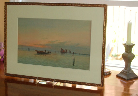 Listed Eugenio Benvenuti Watercolor Titled Drawing in the Nets on the Venetian Lagoon