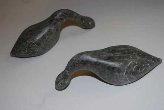 Pair Dietrich Muckenheim Canadian Soapstone Goose Figures