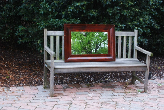 1870 Sophisticated Mahogany Ogee Mirror Antique Wood 22 x 32