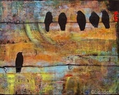 Bird Print Art Picture, Birds on a Wire, 8X10, First Step is the Dream, Wall Decor, Optional Mat