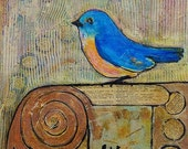 Signed Print 8X8 Blue Bird Knowledge is Key