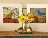 Wall Decor  Art Print Set of 2 - Matted Bird Prints - Cottage Chic