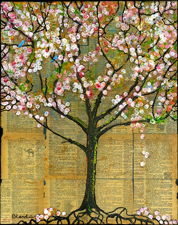 Art Tree Print Large 11X14 Signed Text Words Dictionary Birds
