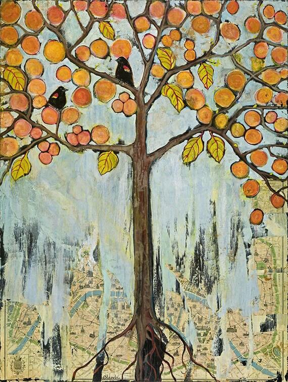 Boho Chic, Paris Map Fine Art Tree Print, Birds, Painting, Mixed Media, Giclee| Various Sizes