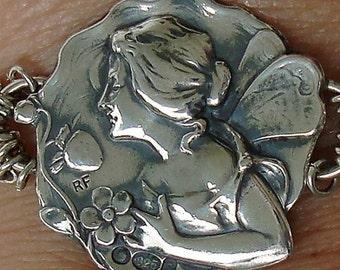 Vintage Strawberry Fairy Sterling Silver Button Bracelet dmfsparkles