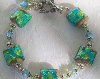 Fever  Lampwork Sterling Crystal Bracelet  dmfsparkles