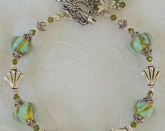 Low Tide     Lampwork Sterling Crystal Bracelet   dmfsparkles
