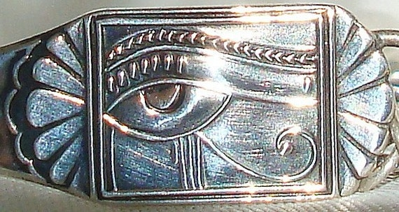 Vintage Eye of Ra GOOD LUCK Art Nouveau Sterling Silver Spoon Bracelet dmfsparkles