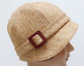 1920s Cloche Hat in Vintage Carmel Tweed with Vintage Leather Buckle