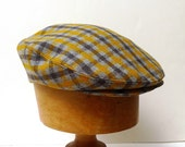 Retro Driving Cap in Mustard and Gray Plaid Vintage Wool - Size S
