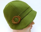 Wool Cloche Hat in Olive Green with Vintage Buckle