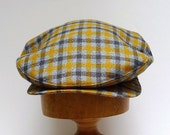 Retro Driving Cap in Mustard and Gray Plaid Vintage Wool - Made to Order in Your Size
