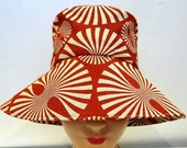 Retro Sun Hat in Burnt Orange Pinwheel Canvas - Made to Order in Your Size