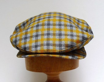 Men's  Driving Cap in Mustard and Gray Plaid Vintage Wool - Made to Order in Your Size - 3 WEEKS TO SHIP