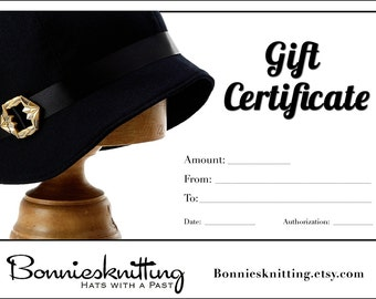 Gift Certificate - Custom Wool Cloche - Hats With A Past