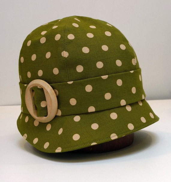 Cloche Hat - Olive Polka Dot Linen with Vintage Wooden Buckle - Made to Order