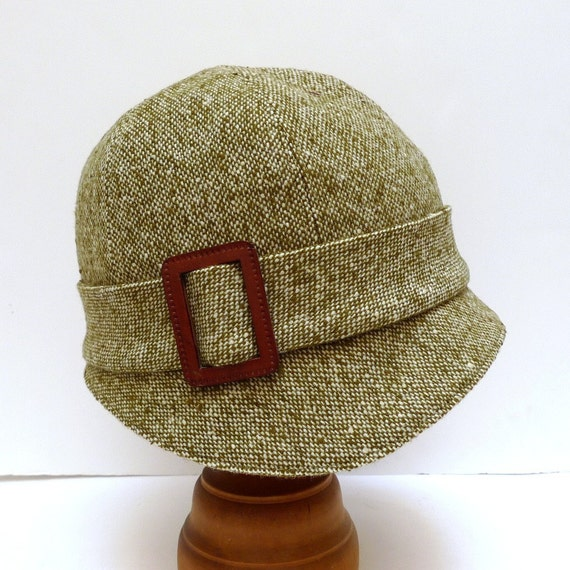 1920s Cloche in Olive Green and White Tweed with Leather Buckle - Made to Order