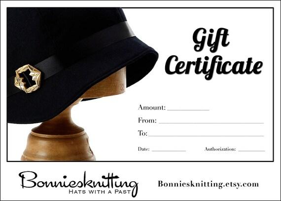 Gift Certificate - Bonniesknitting - Design Your Own Linen Cloche