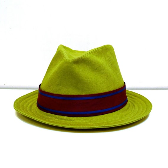 Men's Olive Green Canvas Fedora with Vintage Hatband