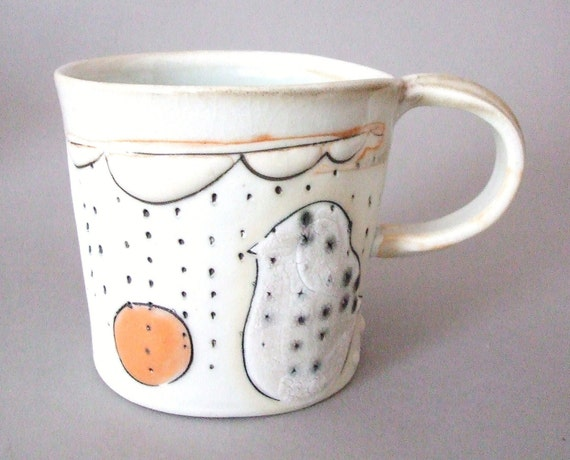 SPRING CLEARANCE SALE - porcelain cup with translucent bottom