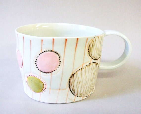 RESERVED for MaryAnne - porcelain cup with translucent bottom
