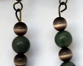 Moss Agate and Tiger Eye earrings