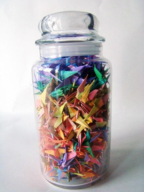multicolored origami crane jar