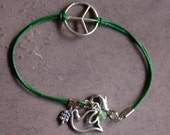 Sterling Peace Sign and Leather Bracelet