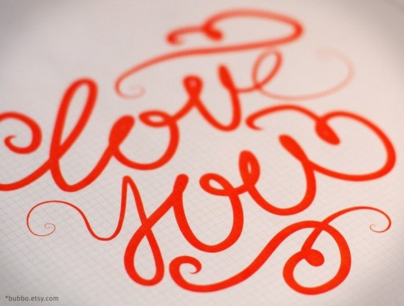 Items similar to printable poster love you calligraphy