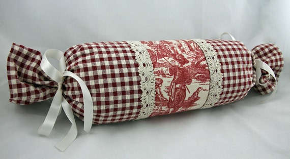 Decorative Pillow Rolls : Toile Decorative Pillow Red Cream White Bolster Neck Roll