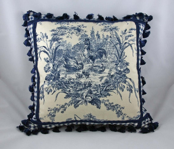 decorative pillow toile blue off white french country. Black Bedroom Furniture Sets. Home Design Ideas