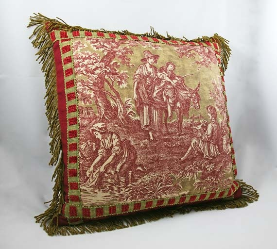 Toile Decorative Pillow Case Cranberry Red Olive Green