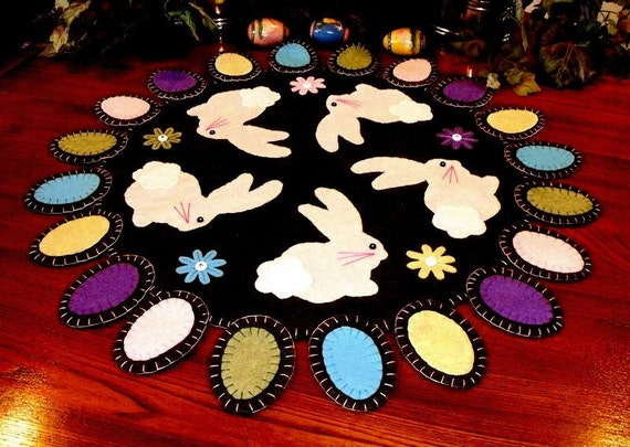 Handstitched Easter Bunny Wool Felt Penny Rug Table Centerpiece