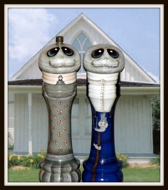 """O.O.A.K..Hand Painted AMERICAN GOTHIC Skeleton/ Ghoul 10"""" tall Wooden Salt Shaker and Pepper Mill"""