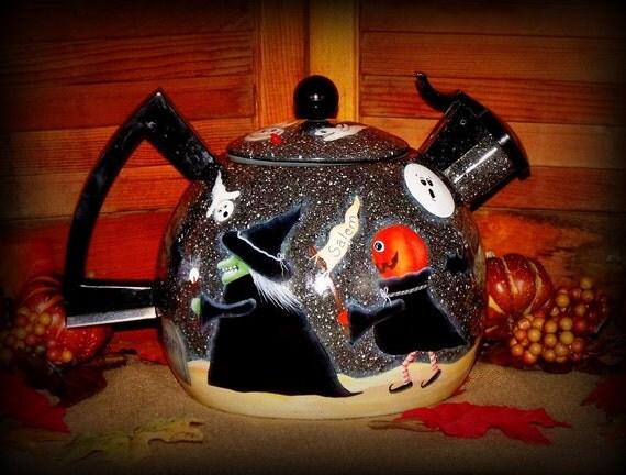 RESERVED For MANSION1960 Only..... John Sliney Primitive Halloween Scene Enamel-ware Tea-Kettle