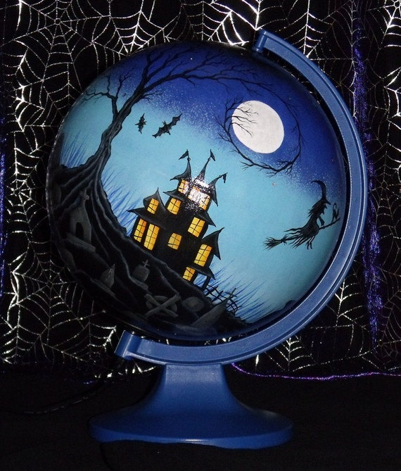 Hand Painted Spooky Halloween Haunted House And Graveyard