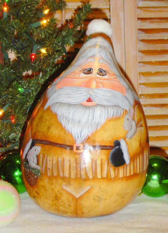Hand Painted BUCKSKIN SANTA and friends Christmas Gourd