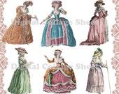 Marie Antoinette 02 digital collage paper dolls sheet png cutouts