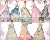 Beautiful gowns 04 vintage ladies ATC ACEO scrap collage sheet png files