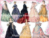 Beautiful gowns 05 vintage ladies ATC ACEO scrap collage sheet png files