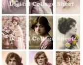 Vintage Ladies no 045 ATC ACEO cards digital Collage scrap sheet Buy 3 get 1 free