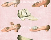 Vintage Shoes 02 vintage ATC ACEO scrap collage sheet png files Buy 3 Get 4th Free