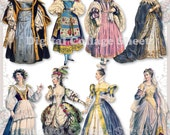 Historical Dresses 01 vintage ladies ATC ACEO scrap collage sheet paper doll png files