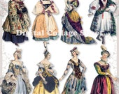 Historical Dresses 02 vintage ladies ATC ACEO scrap collage sheet paper doll png files