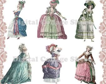 Marie Antoinette 01 digital paper dolls collage sheet png files