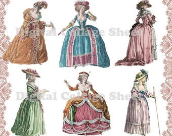 Marie Antoinette 02 digital collage paper dolls sheet png cutouts