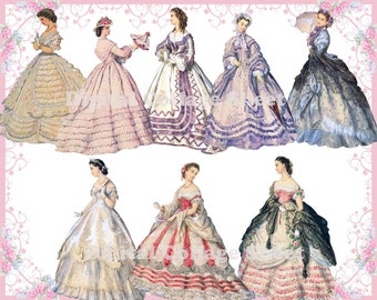 Beautiful gowns 01 vintage ladies ATC ACEO scrap digital collage paper dolls png files