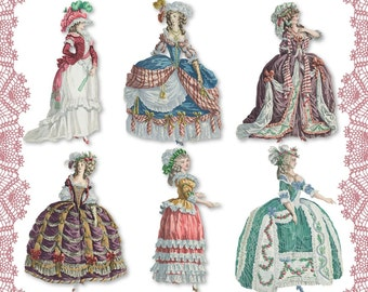 Marie Antoinette 04 digital collage sheet png cutouts paper dolls